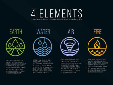 Nature 4 elements circle logo sign. Water, Fire, Earth, Air. on dark background. Ilustrace