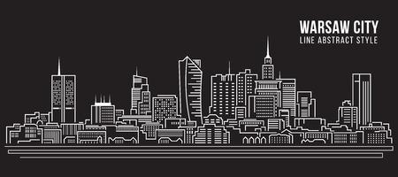 poland: Cityscape Building Line art Illustration design