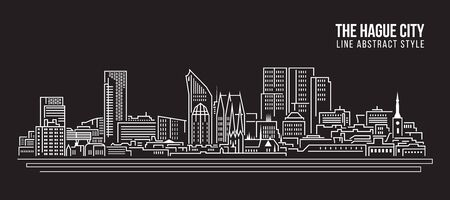 the hague: Cityscape Building Line art Illustration design - The hague city