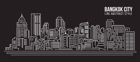 Stadtansicht von Gebäuden Linie Kunst Illustration Design - Bangkok City