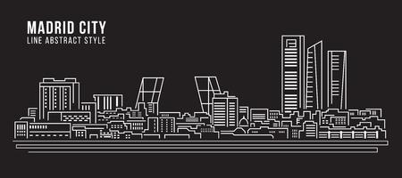 real madrid: Cityscape Building Line art Illustration design - Madrid city