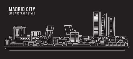 Cityscape Building Line art Illustration design - Madrid city