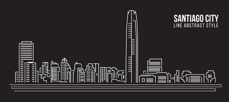 santiago: Cityscape Building Line art Illustration design - Santiago city