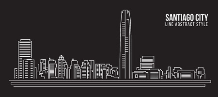 Cityscape Building Line art Illustration design - Santiago city