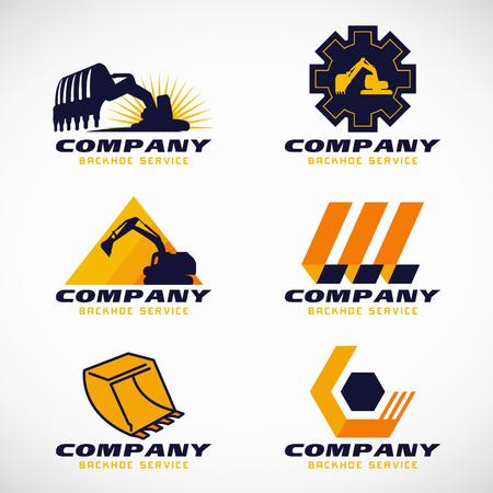 backhoe: Yellow and dark blue Backhoe service set design