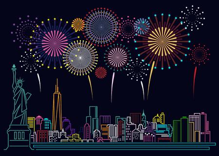 都市の景観建物ライン ニューヨーク市と花火アート イラスト デザイン