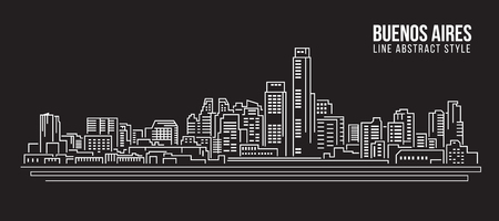 buenos: Cityscape Building Line art Illustration design - Buenos aires city