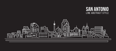 tx: Cityscape Building Line art Illustration design -  San Antonio city