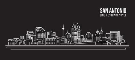 Cityscape Building Line art Illustration design - San Antonio city