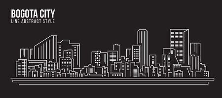 architecture drawing: Cityscape Building Line art Illustration design - Bogota city Illustration