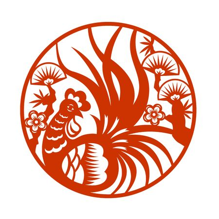 cut paper: Red paper cut a chicken rooster in circle zodiac symbols