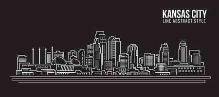 Stadtansicht von Gebäuden Linie Kunst Illustration Design - Kansas City Standard-Bild - 59591476