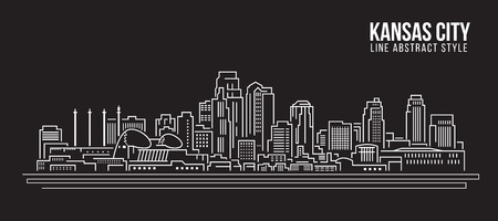 Stadtansicht von Gebäuden Linie Kunst Illustration Design - Kansas City Illustration