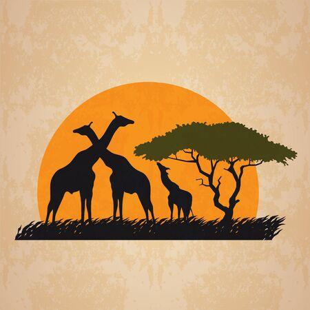 negras africanas: jirafa Familia en prado en el diseño y el sol africano arte retro
