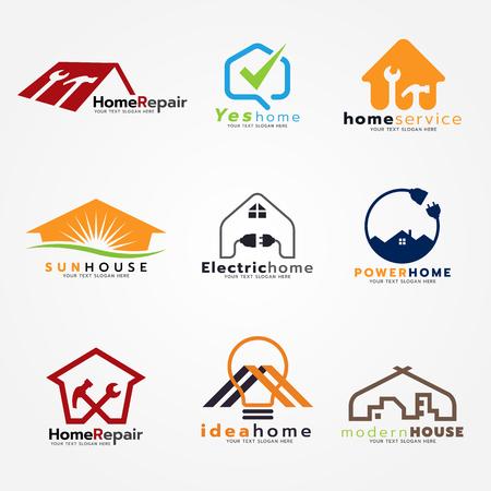 Home service and modern set art design Illustration
