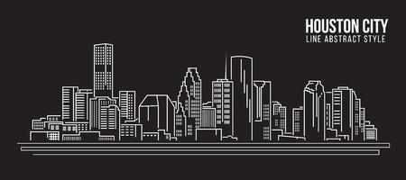 Stadtansicht von Gebäuden Linie Kunst Illustration Design - Houston Stadt Standard-Bild - 59591497