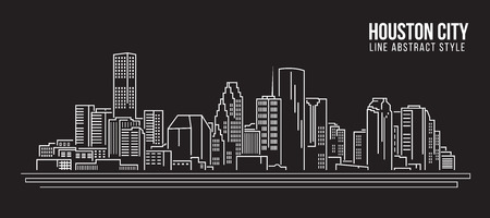 Cityscape Building Line art Illustration design - Houston city