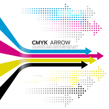 curve ahead sign: CMYK (cyan and magenta and yellow and key or black) arrow line and dot arrow art design