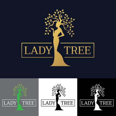 gold woman: Gold Woman Lady tree art design