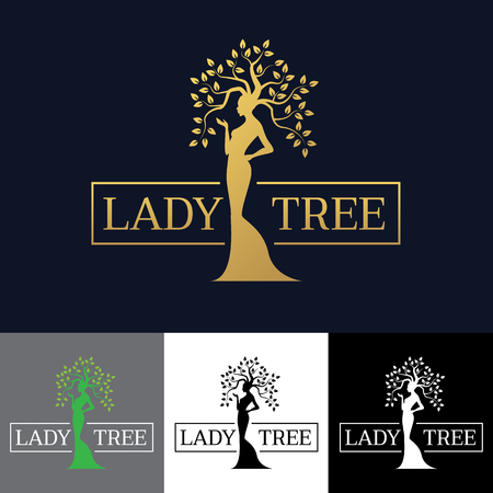Gold Woman Lady tree art design