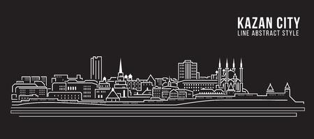 panorama city: Cityscape Building Line art Illustration design - Kazan city