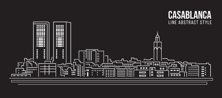 house illustration: Cityscape Building Line art Illustration design - Casablanca city Illustration