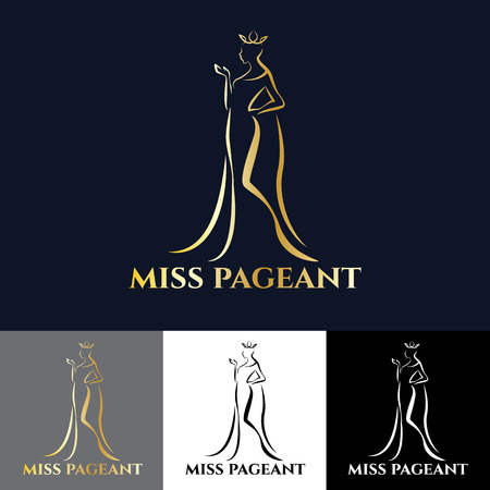 miss: Gold miss lady for pageant art design