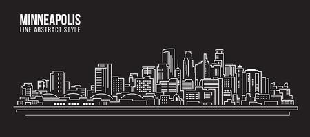 Cityscape Building Line art Illustration design - Minneapolis city