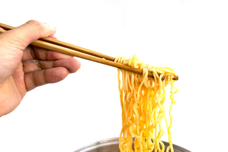 Food - noodles ramen grapples with chopsticks isolate on white background Foto de archivo