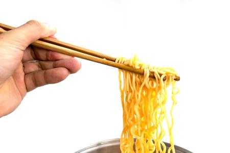 Food - noodles ramen grapples with chopsticks isolate on white background Standard-Bild