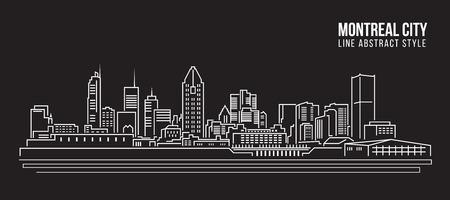montreal city: Cityscape Building Line art Illustration design - Montreal city