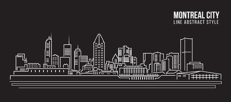 Cityscape Building Line art Illustration design - Montreal city