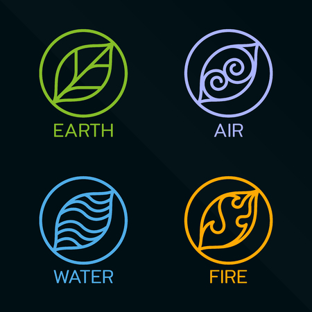 water plants: Nature 4 elements circle line logo sign
