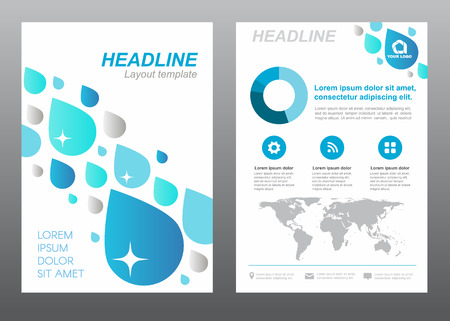rain drop: Layout template size A4 cover page blue drop water rain abstract design Illustration