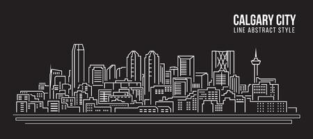 calgary: Cityscape Building Line art Vector Illustration design - Calgary city