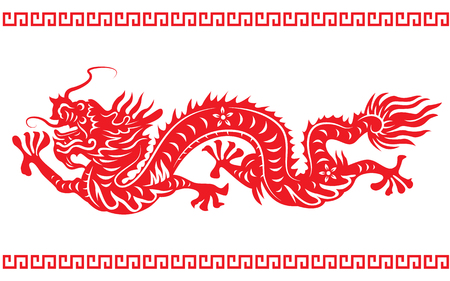 Red paper cut dragon china zodiac symbols Illustration