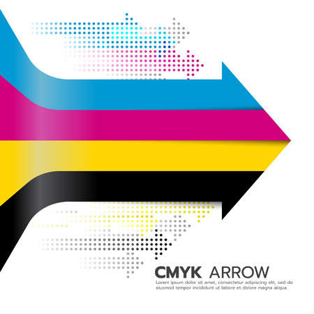 curve ahead sign: CMYK (cyan and magenta and yellow and key or black) arrow line and dot arrow vector art design Illustration