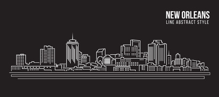 Cityscape Building Line art Vector Illustration design - New Orleans city Illustration