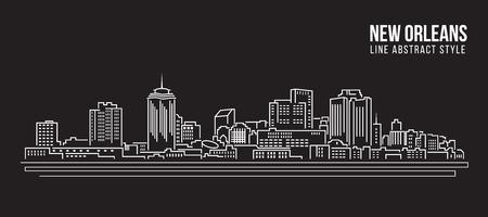 ville de la Nouvelle-Orléans - Paysage urbain Bâtiment ligne design art vecteur Illustration Vecteurs