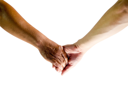 hold hands: Old lady and men hold hands isolate on white background