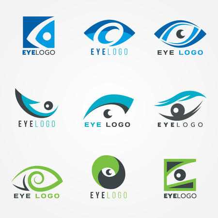 Eye logo sign vector set graphic design Vettoriali