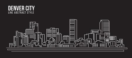 city of denver: Cityscape Building Line art Vector Illustration design - Denver city