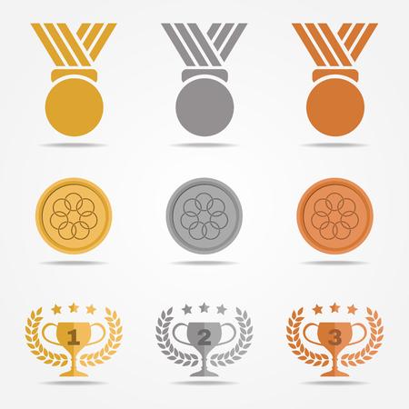 medalla de bronce de plata de oro y trofeos de oliva corona de flores (color sólido) de diseño conjunto de vectores en el fondo blanco