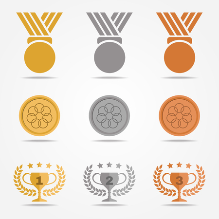 Gold silver bronze medal and trophies Olive wreath (solid color) vector set design on white background Illustration