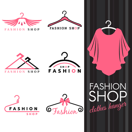 clothes hanger: Fashion shop  - Sweet ping shirts and Clothes hanger   vector set design