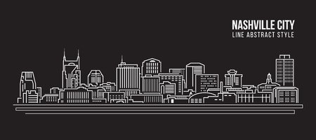 Cityscape Building Line art Vector Illustration design - Nashville city Ilustrace