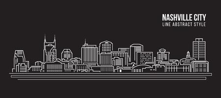 Cityscape Building Line art Vector Illustration design - Nashville city Illustration