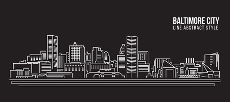 Cityscape Building Line art Vector Illustration design - Baltimore City Vettoriali