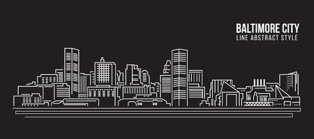 Stadtbild-Gebäude-Linie Kunst Vektor-Illustrationsdesign - Baltimore-Stadt