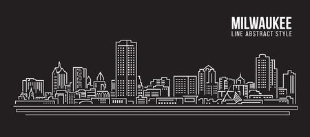 Cityscape Building Line art Vector Illustration design - Milwaukee city Illustration
